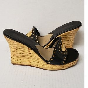 Michael Kors Black Leather Woven Wedge Sandals